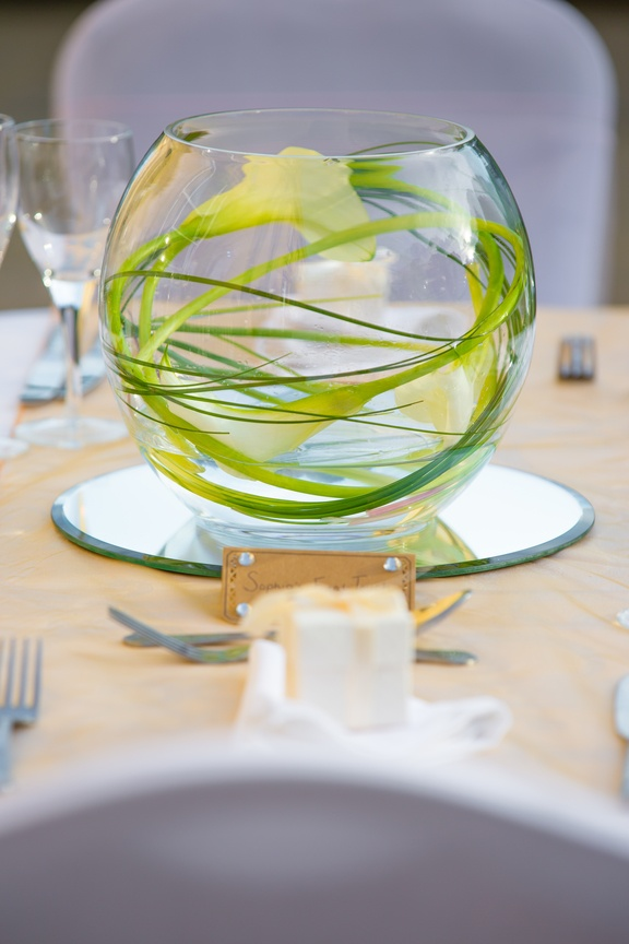 Gold Fish Bowl with Lily's – Wedding Venue Styling- Sophia's Final Touch- Wedding & Event Decoration