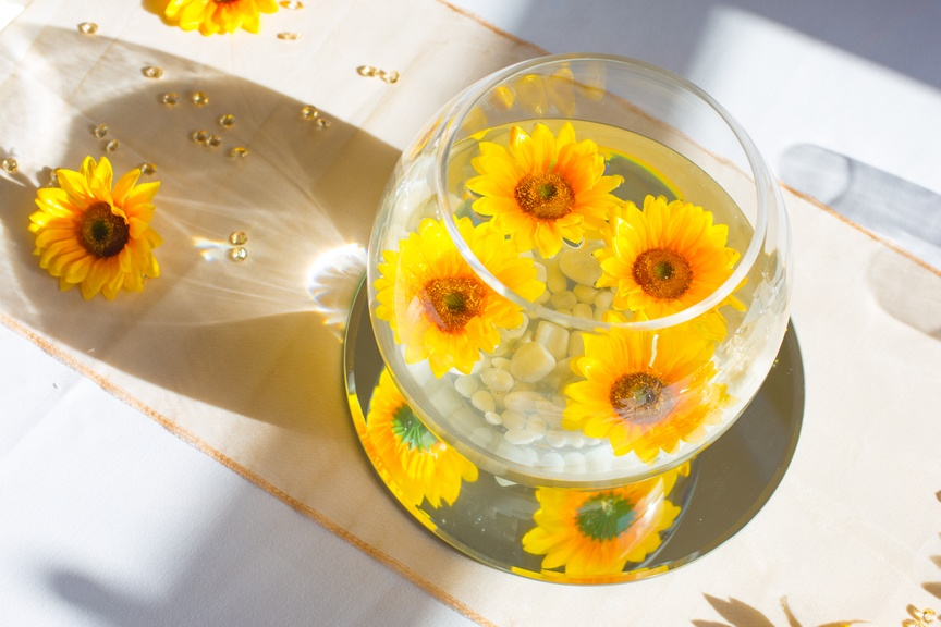 Goldfish bowl with Floating Sunflowers– Wedding Venue Styling- Sophia's Final Touch- Wedding & Event Decoration