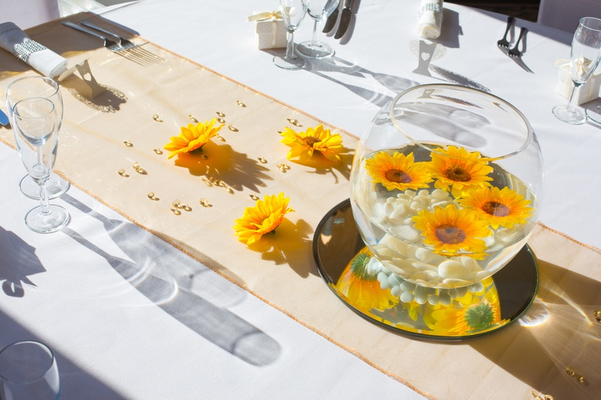 Goldfish bowl with Floating Sunflowers – Gold Runner – Wedding Venue Styling- Sophia's Final Touch- Wedding & Event Decoration