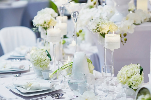 Greenery, White Flowers & Floating Candles – Wedding Venue Styling- Sophia's Final Touch- Wedding & Event Decoration