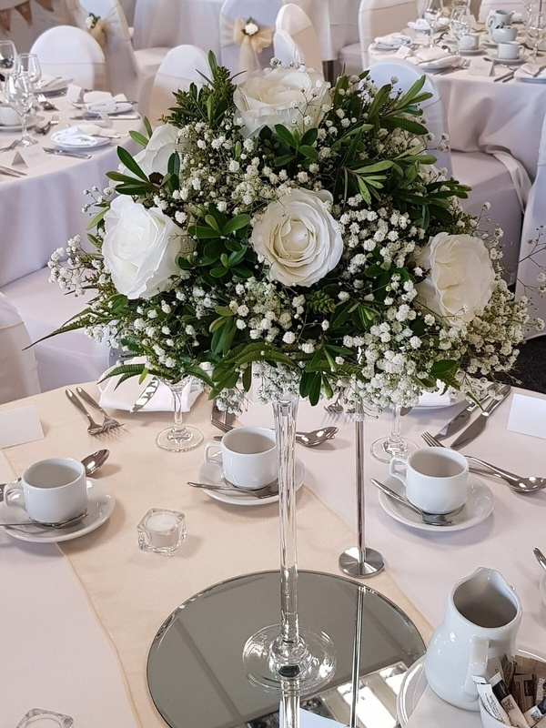 Martini Glass with Gypsophila and Roses in Martini Glass – Venue Styling- Sophia's Final Touch