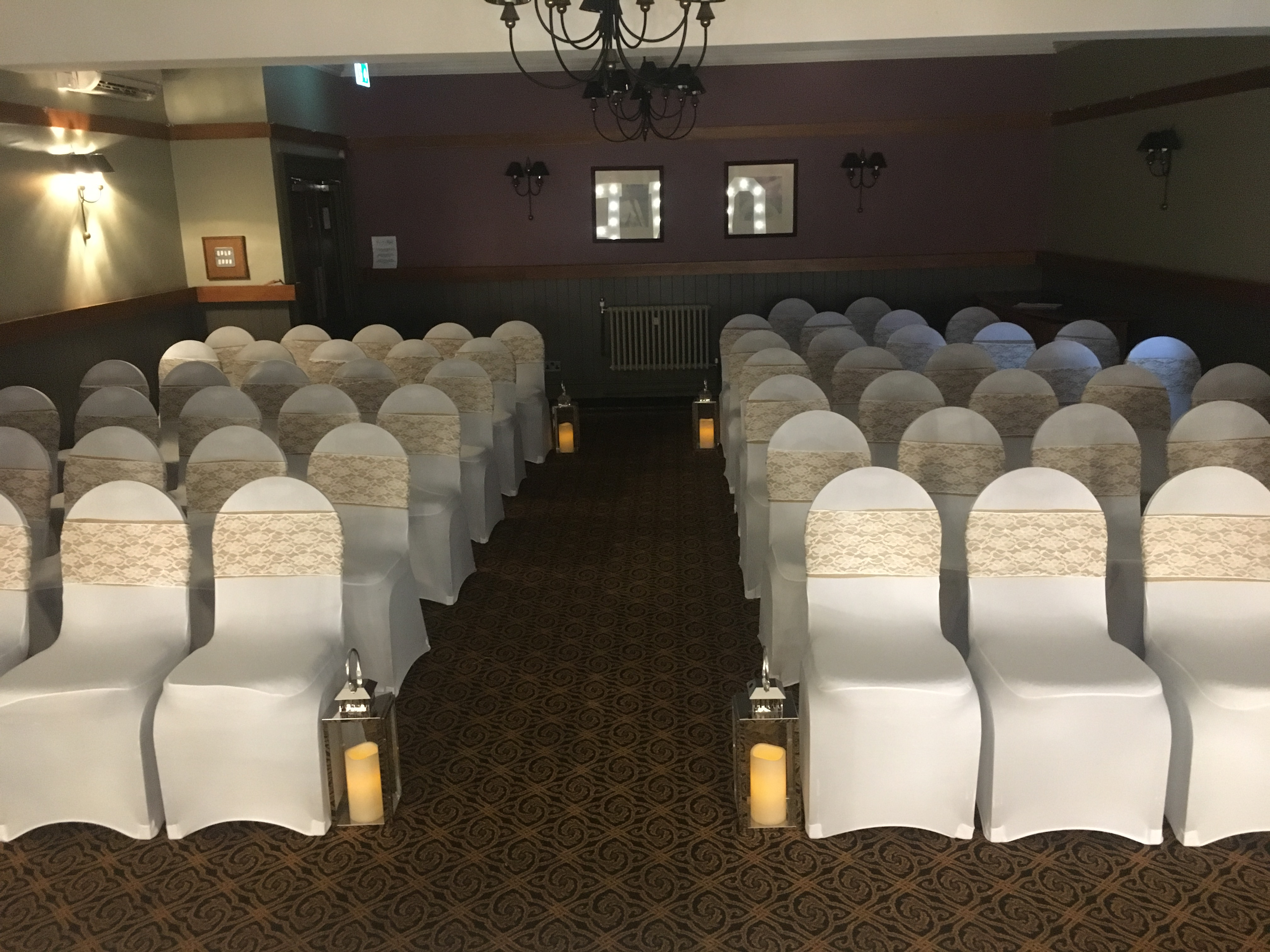 Hessian & Lace Sash Front- The Crown Hotel Sophia's Final Touch - Venue Styling - Weddings