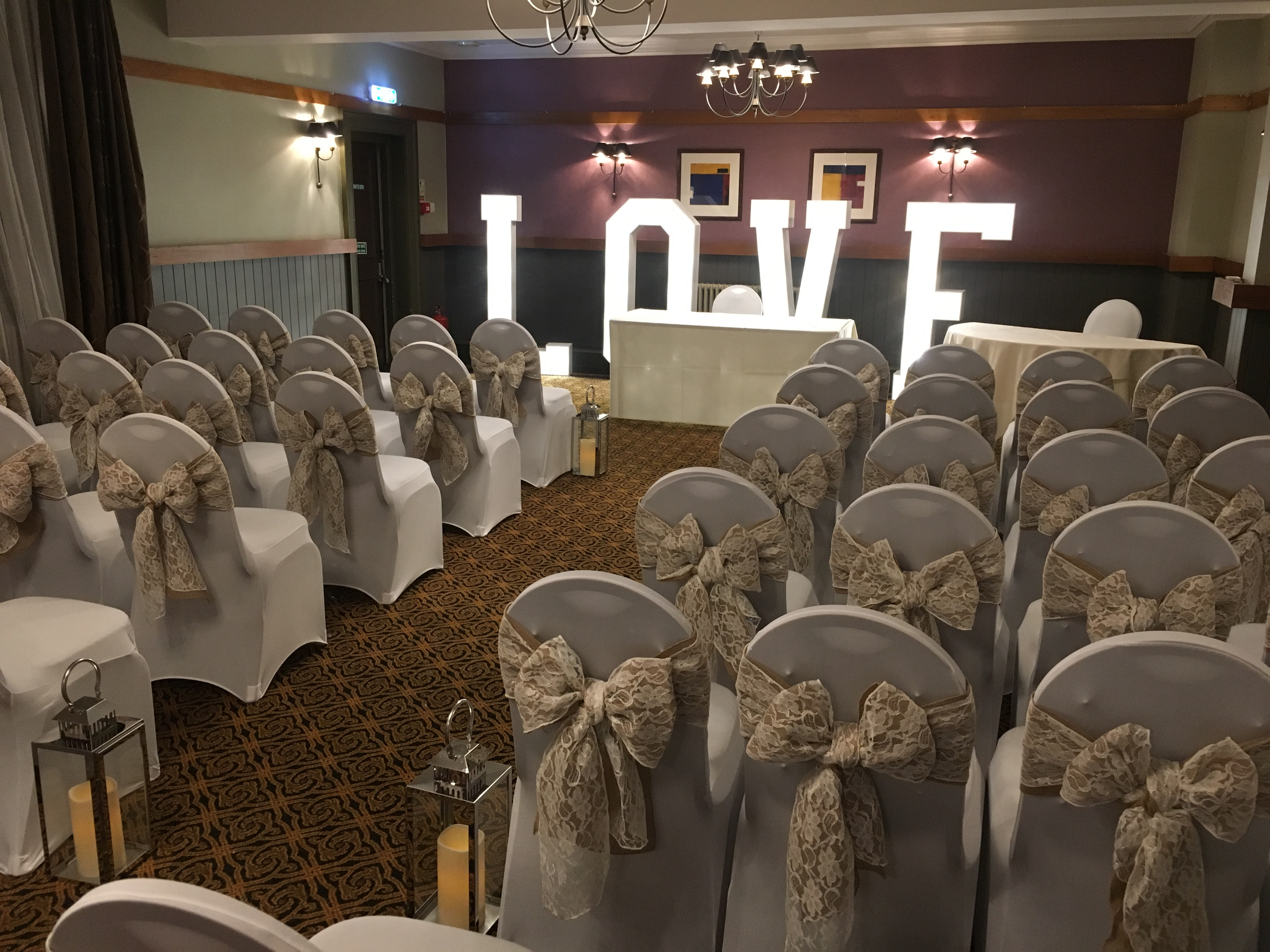 Hessian & Lace Sash - The Crown Hotel Sophia's Final Touch - Venue Styling - Weddings