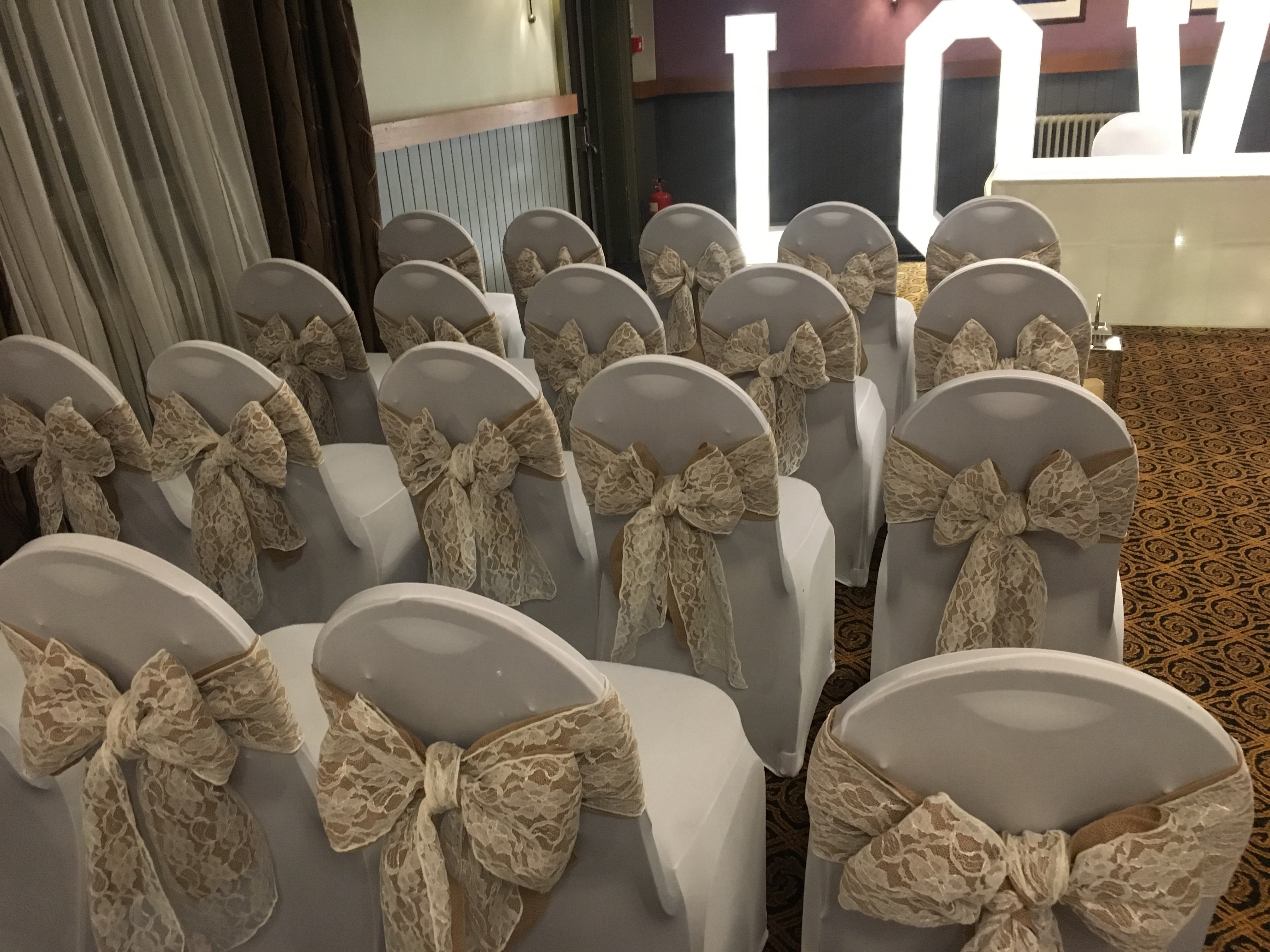 Hessian and Lace Sash Sophia's Final Touch - Venue Styling - Weddings