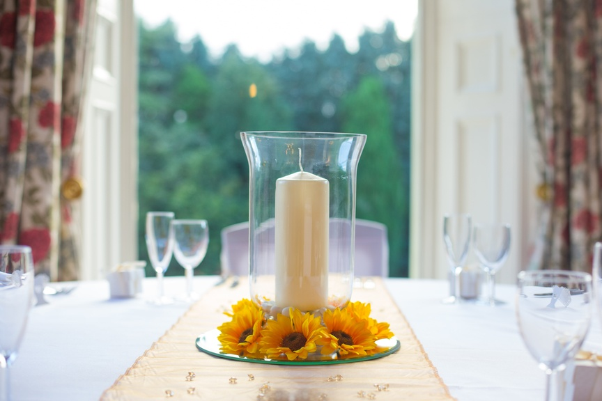 Hurricane Vase with Sunflowers – Wedding Venue Styling- Sophia's Final Touch- Wedding & Event Decoration