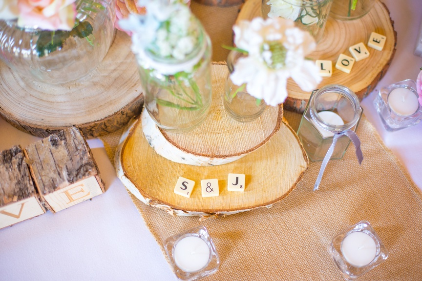 Initial Scrabble Pieces With Jam Jars – Wedding Venue Styling- Sophia's Final Touch- Wedding & Event Decoration