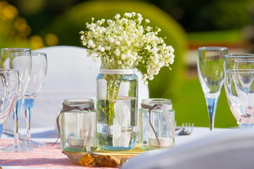 Jam Jars & Gypsophila – Wedding Venue Styling- Sophia's Final Touch- Wedding & Event Decoration