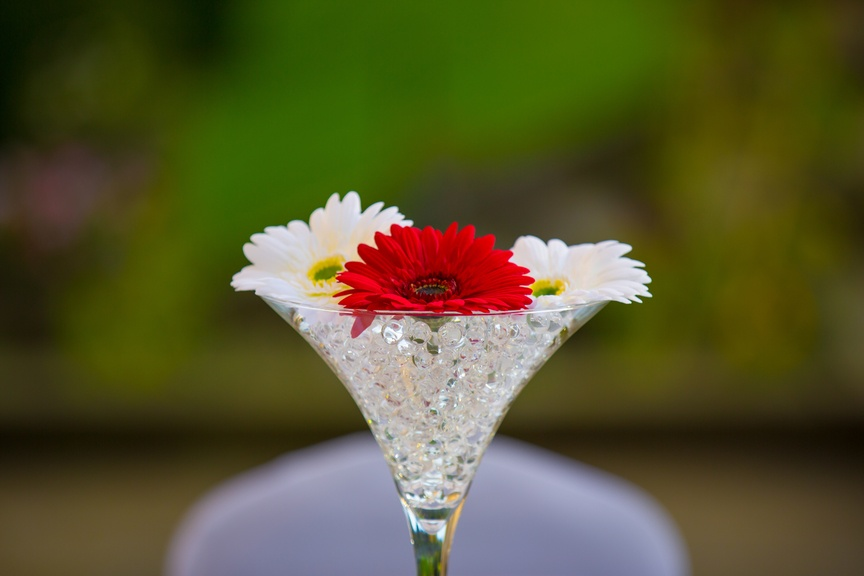 Martini Glass with Flowers in Water Beads – Wedding Venue Styling- Sophia's Final Touch- Wedding & Event Decoration