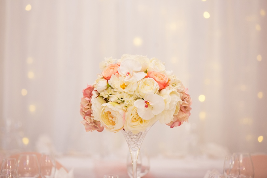 Martini Glass with Pink & Cream Flower Top  – Wedding Venue Styling- Sophia's Final Touch- Wedding & Event Decoration