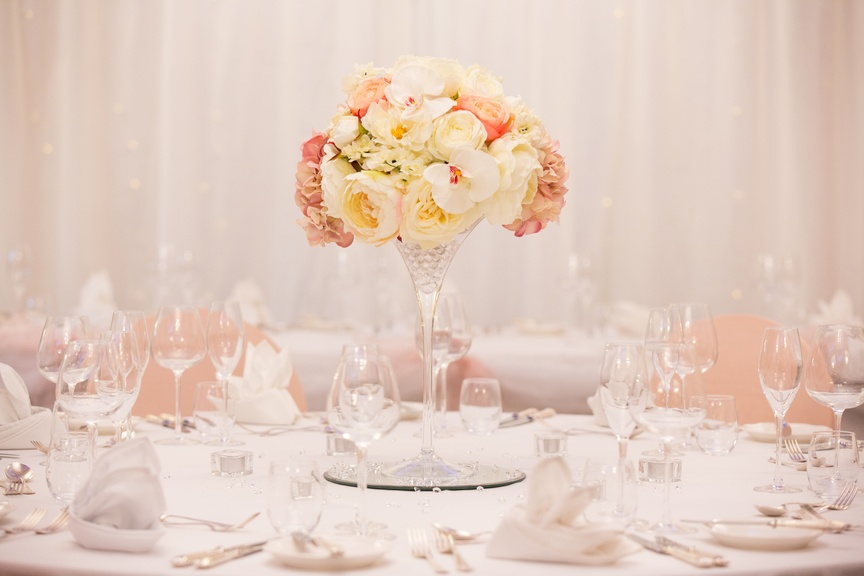 Martini Glass with Pink & Cream Flowers – Wedding Venue Styling- Sophia's Final Touch- Wedding & Event Decoration