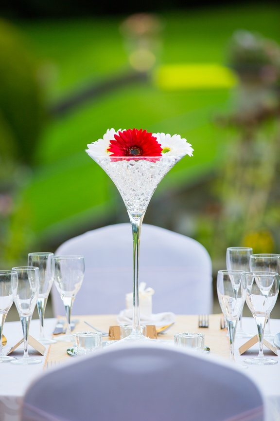 Martini Glass with Red Flowers – Wedding Venue Styling- Sophia's Final Touch- Wedding & Event Decoration