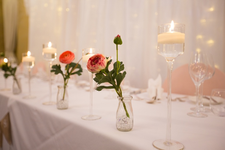 Milk Jars with Flowers & Candles Top Table  - Sophia's Final Touch - Venue Styling - Weddings & Event Decoration