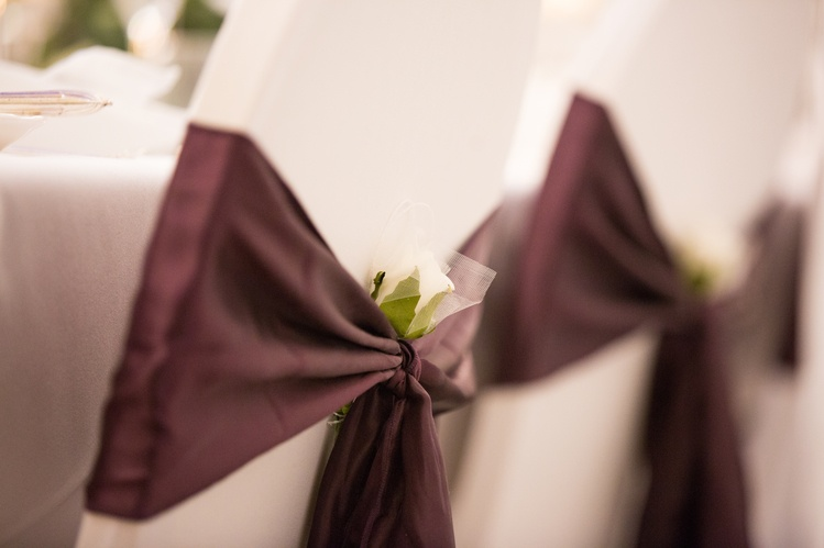 Plum Satin Sash with Flower on Lycra Chair Cover  - Sophia's Final Touch - Venue Styling - Weddings & Event Decoration