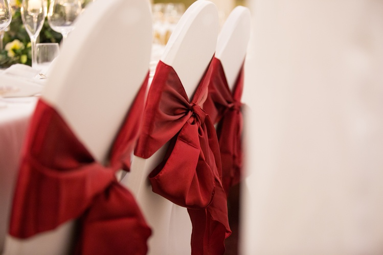 Red Satin Chair Sash on Lycra Chair Cover   - Sophia's Final Touch - Venue Styling - Weddings & Event Decoration