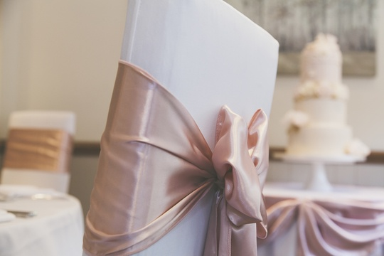 Rose Gold Satin Chair Sash - Wedding Venue Styling- Sophia's Final Touch