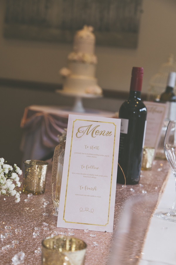 Rose Gold Wedding Menu - Stationary - Wedding Venue Styling- Sophia's Final Touch