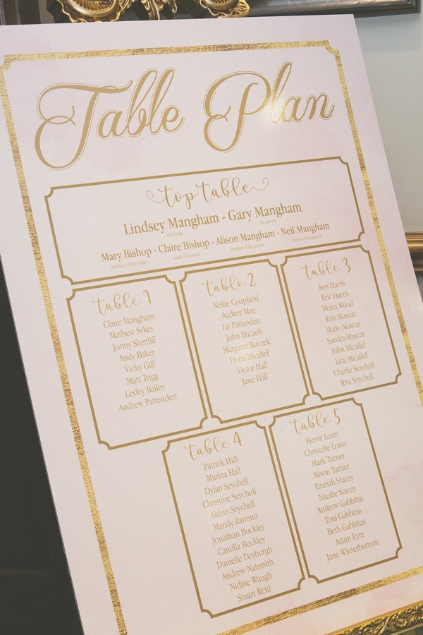 Rose gold & Pink Printed Table Plan - Stationary -Venue Styling- Sophia's Final Touch