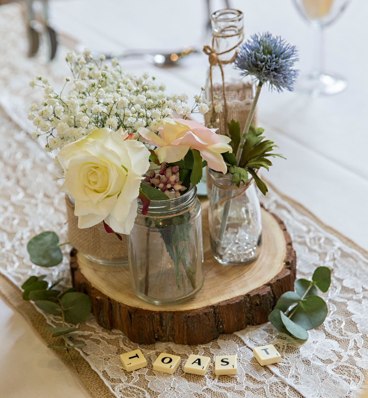 Rustic Log Centrepiece - Gill Batson Photography Sophia's Final Touch - Venue Styling - Weddings