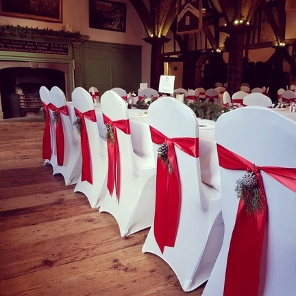 Satin Ribbon Chair Sash on Lycra Chair cover Wedding Venue Styling- Sophia's Final Touch