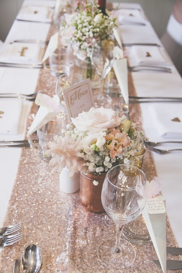 Sequin Rose Gold Runner – Wedding Venue Styling- Sophia's Final Touch