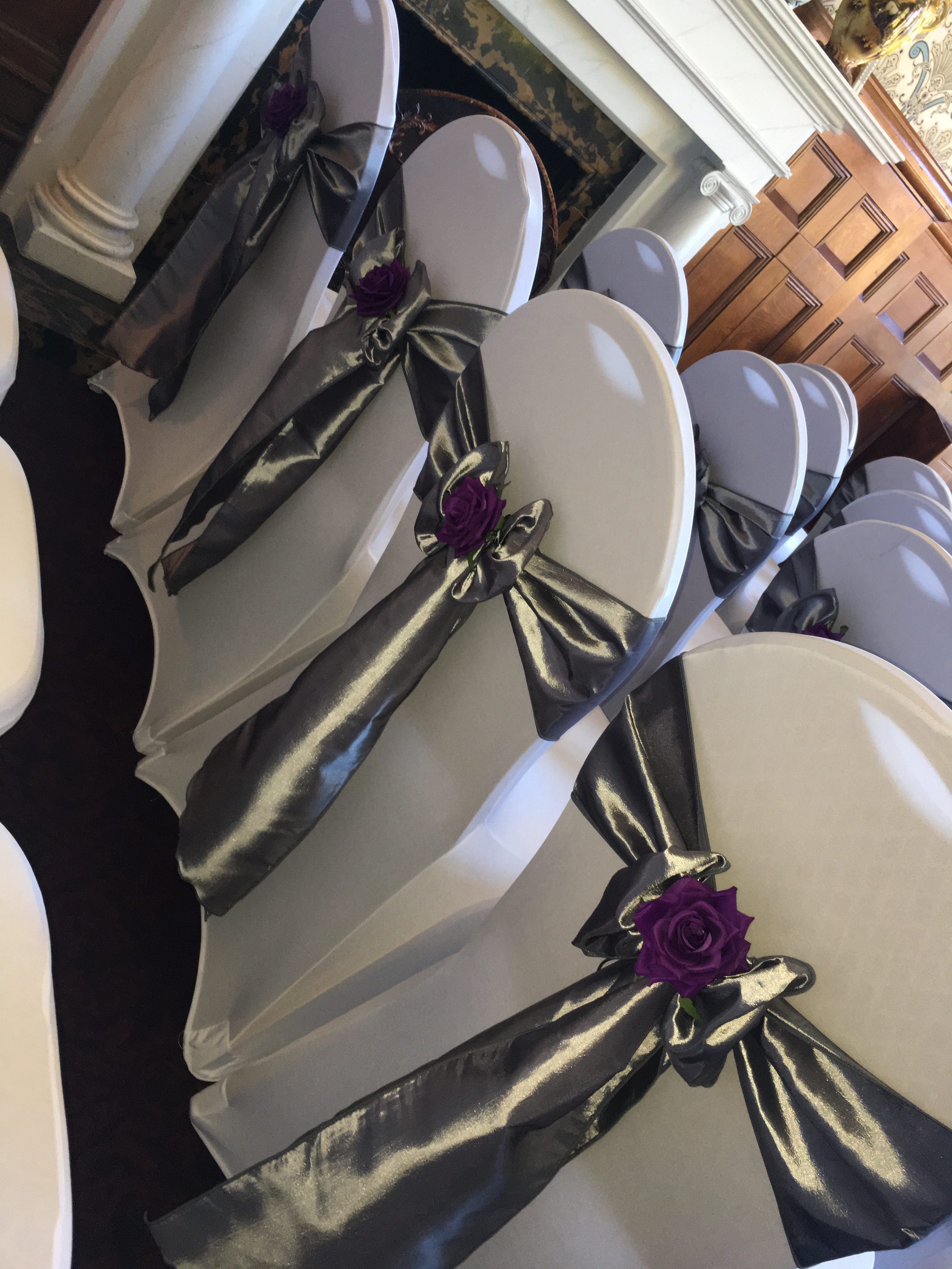 Silver Satin with Purple Rose - Rossington Hal Close up Sophia's Final Touch - Venue Styling - Weddings