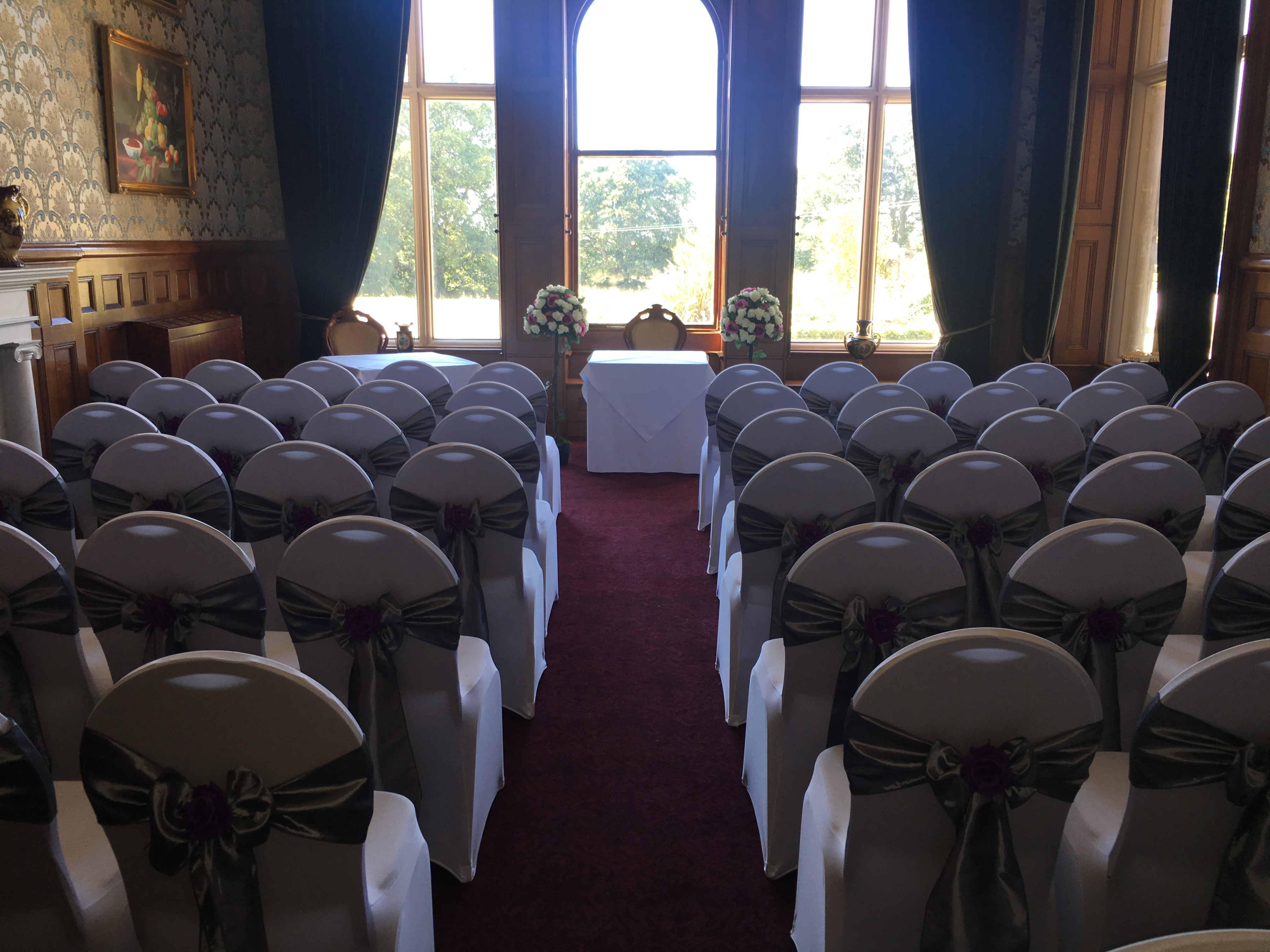 Silver Satin with Purple Rose - Rossington Hall Sophia's Final Touch - Venue Styling - Weddings
