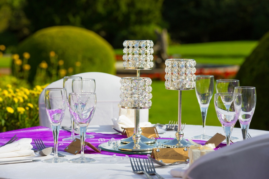 Single Silver Gem Candle Sticks with Purple Runner – Wedding Venue Styling- Sophia's Final Touch- Wedding & Event Decoration