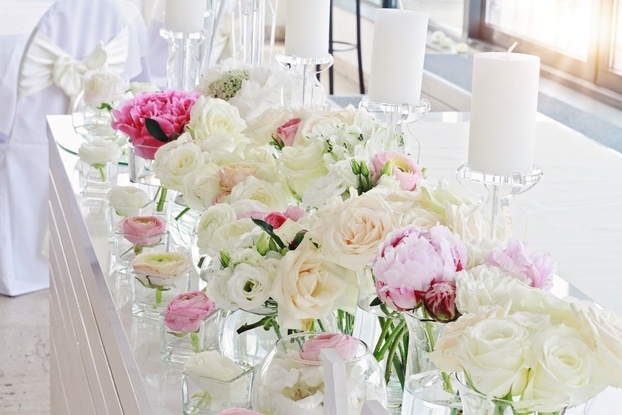 Wedding Table Decoration.  Ranunculus, Roses, Candles – Wedding Venue Styling- Sophia's Final Touch- Wedding & Event Decoration