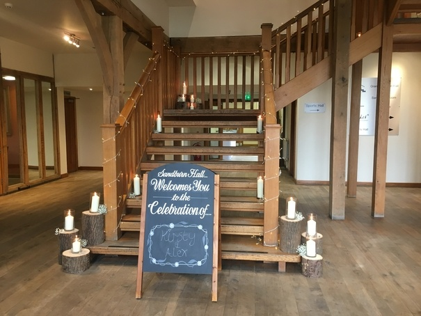 Stair Decoration at Sandburn Hall - York- Sophia's Final Touch - Venue Styling - Weddings