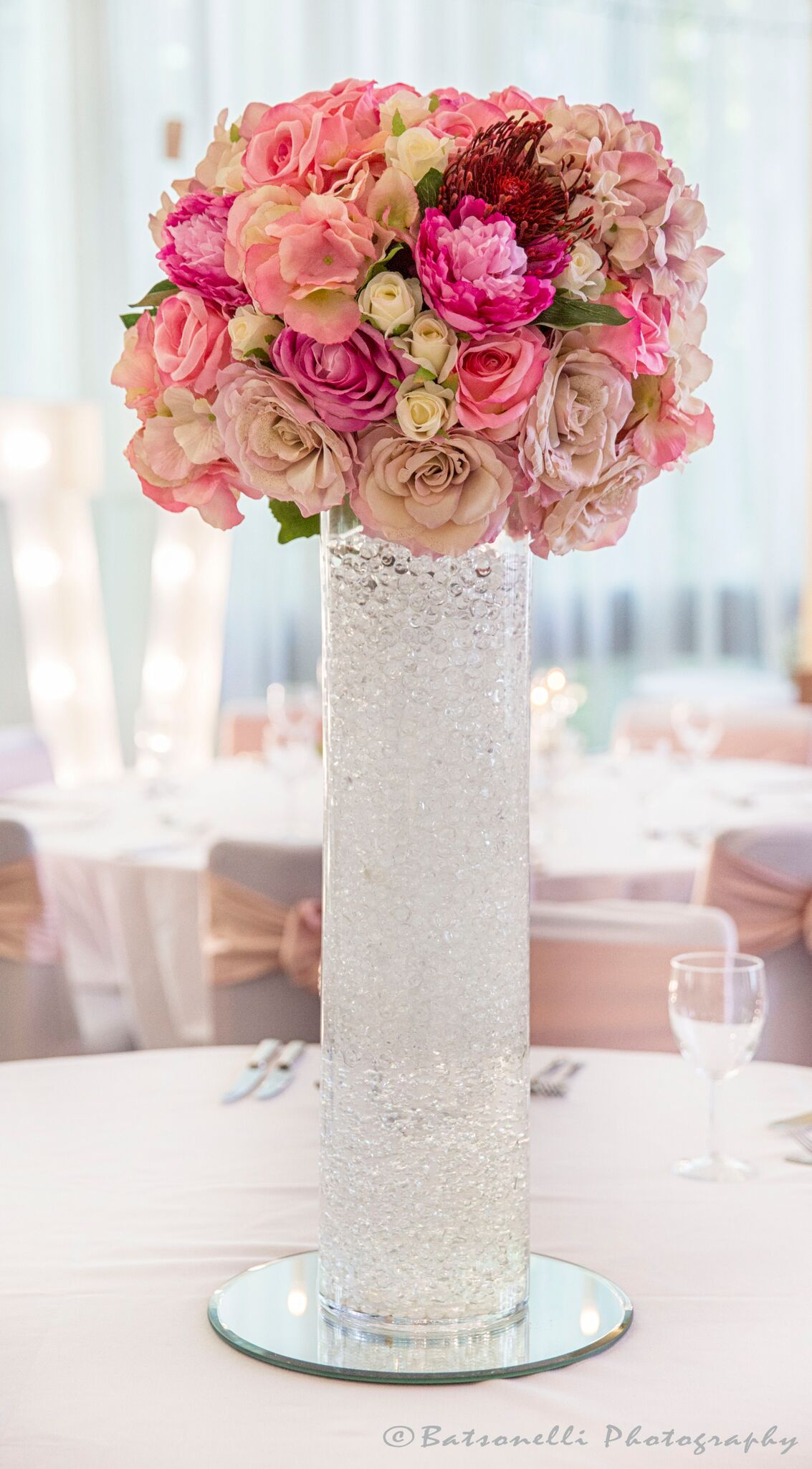 Tall 60cm Cylinder with Flower Ball Sophia's Final Touch - Venue Styling - Weddings