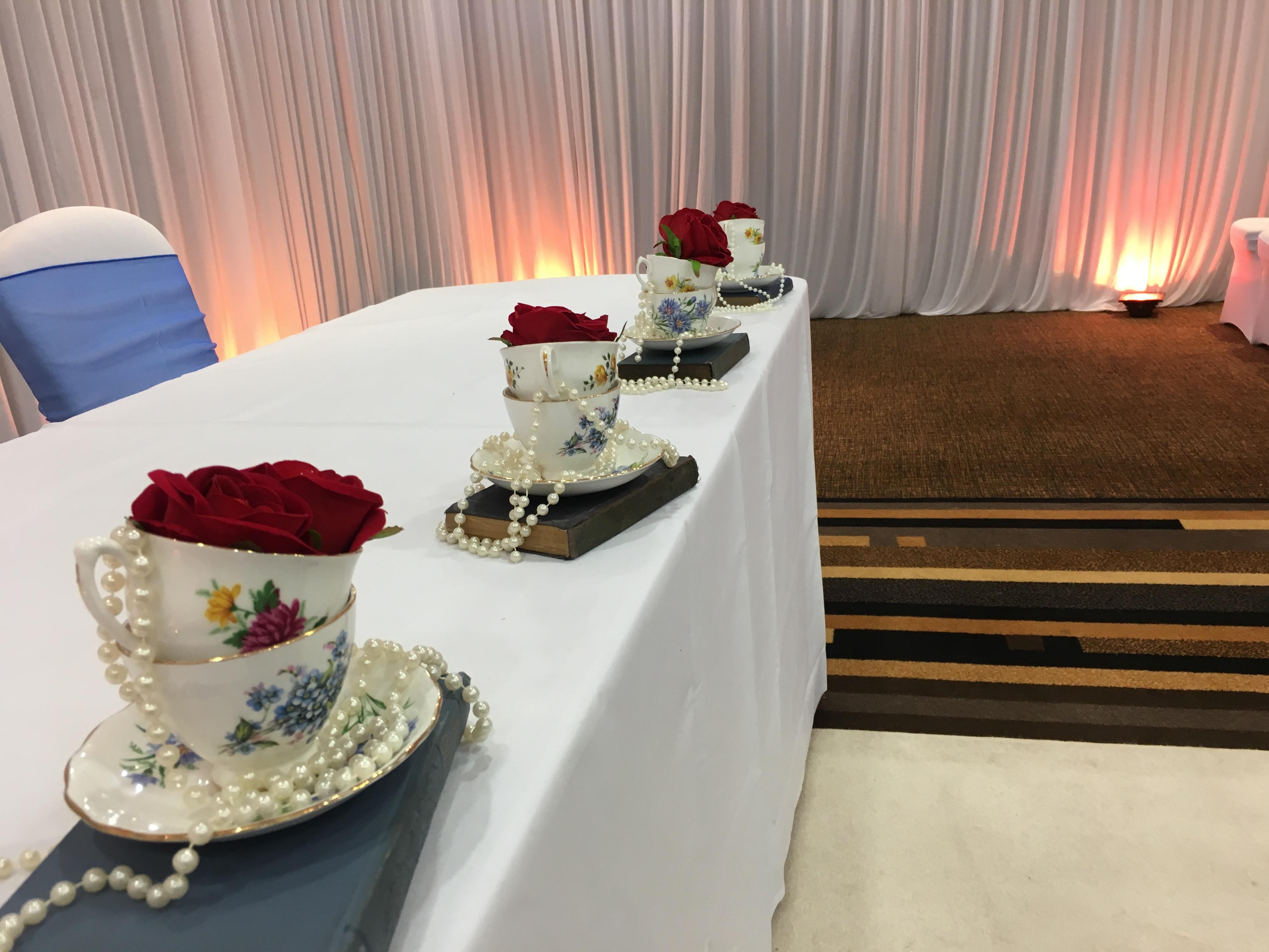 Tea Cups Decor - Mercure Sheffield Sophia's Final Touch - Venue Styling - Weddings