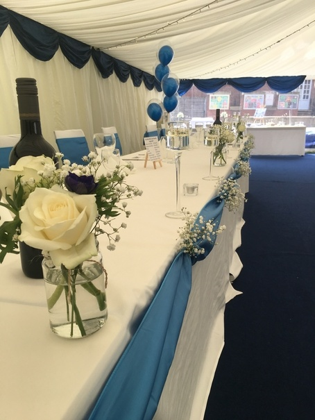 op Table Decor - Blue Satin Swag - Wedding Venue Styling- Sophia's Final Touch