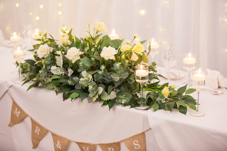 Top Table Flower Arrangement with Candles  - Sophia's Final Touch - Venue Styling - Weddings & Event Decoration