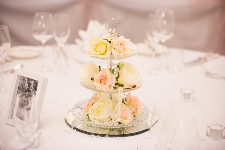 Vintage Cake Stand Centrepiece with Flowers – Wedding Venue Styling- Sophia's Final Touch- Wedding & Event Decoration