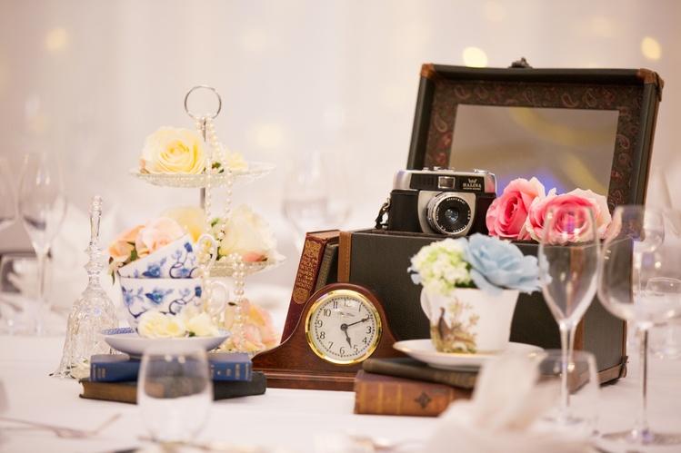 Vintage Case Centrepiece – Wedding Venue Styling- Sophia's Final Touch- Wedding & Event Decoration