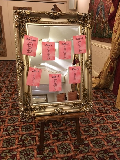 Vintage Mirror Table Plan - With Printed Cards- Wedding Venue Styling- Sophia's Final Touch