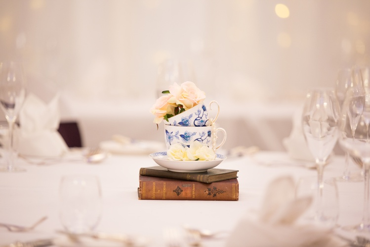 Vintage Tea Cups with Flowers Centrepiece – Wedding Venue Styling- Sophia's Final Touch- Wedding & Event Decoration