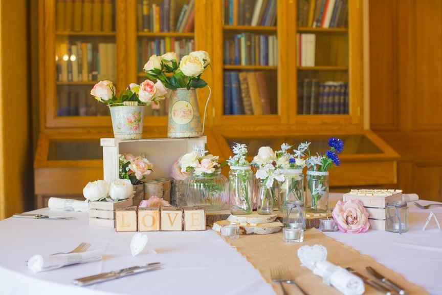 Vintage Wood Centrepiece  – Wedding Venue Styling- Sophia's Final Touch- Wedding & Event Decoration