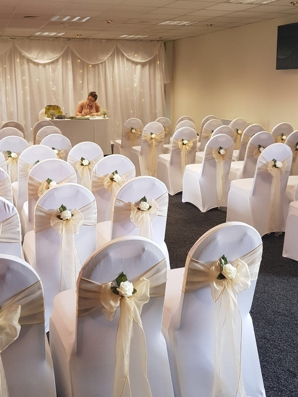 Champagne Organza Sash with Cream Rose - Wedding Ceremony - Barnsley FC  - Sophia's Final Touch - Venue Styling - Weddings & Event Decoration