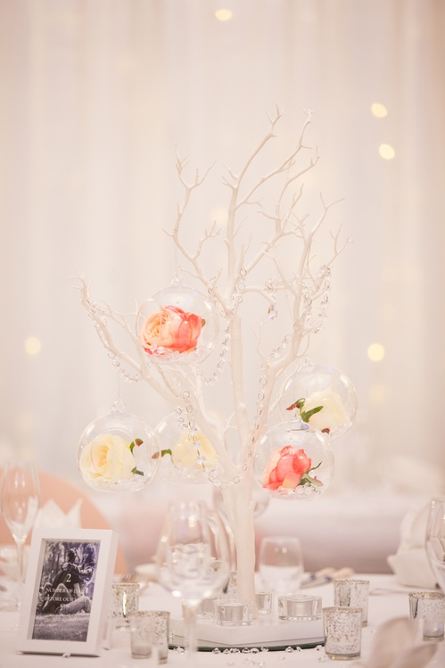 White Manzanita Trees with Glass Hanging Balls & Flowers  – Wedding Venue Styling- Sophia's Final Touch- Wedding & Event Decoration
