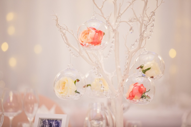 White Manzanita Trees with Glass Hanging Balls– Wedding Venue Styling- Sophia's Final Touch- Wedding & Event Decoration