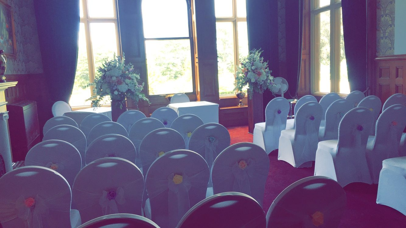 White Organza Sash with Pastel Roses - Rossington Hall Sophia's Final Touch - Venue Styling - Weddings