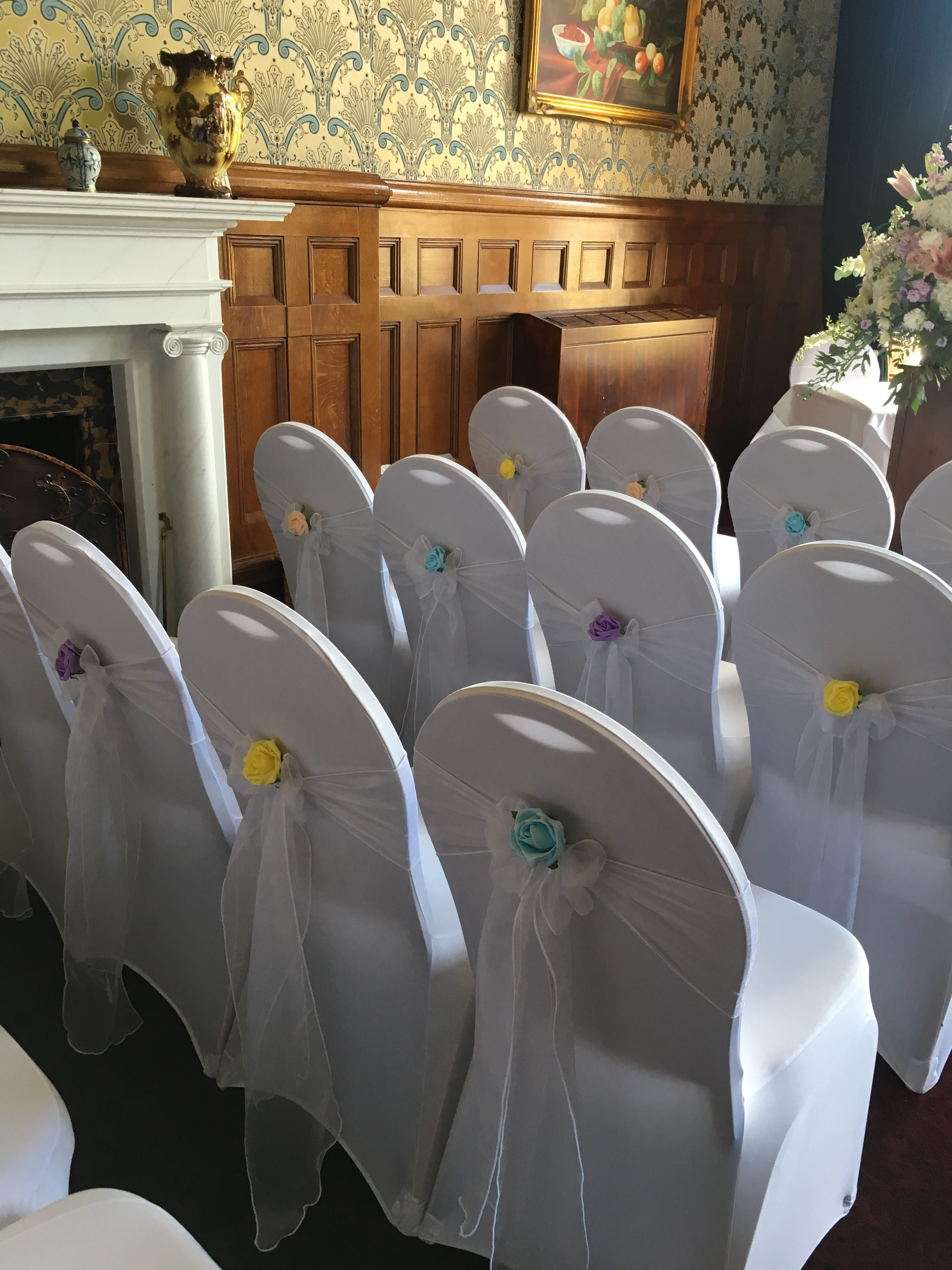 White Organza with Pastel Roses - Rossington Hall Sophia's Final Touch - Venue Styling - Weddings
