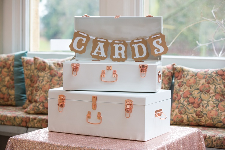 White & Rose Gold Cards Case- Sophia's Final Touch - Venue Styling - Weddings