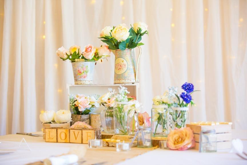 Wood Arrangement on Twinkle Backdrop – Wedding Venue Styling- Sophia's Final Touch- Wedding & Event Decoration