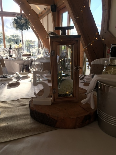 Wooden Lantern with Eucalyptus Centrepiece – Wedding Venue Styling- Sophia's Final Touch