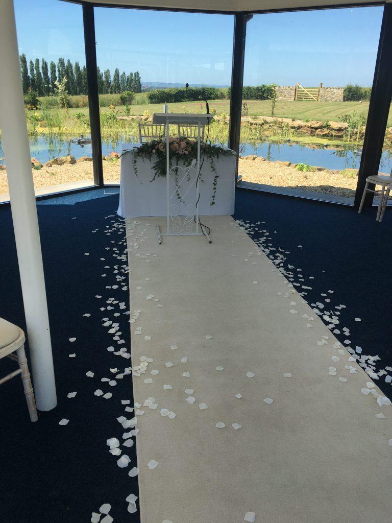 White Aisle Runner & Petals - Kings Croft Hotel