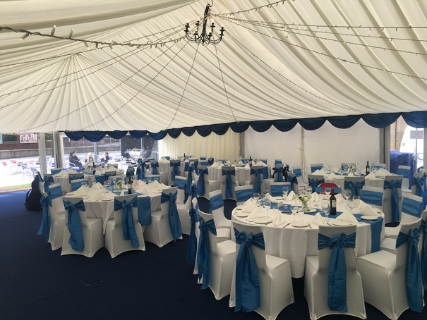Blue Satin Wedding - Leeds - University – Wedding Venue Styling- Sophia's Final Touch- Wedding & Event Decoration