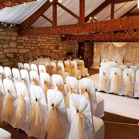 Champagne Organza Hood with Sparkle Berries - Ceremony Set up - The Old Bard - Esholt - - Sophia's Final Touch - Venue Styling - Weddings & Event Decoration