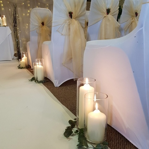 Chapel Candles with Eucalyptus – Aisle Decor -Wedding Venue Styling- Sophia's Final Touch